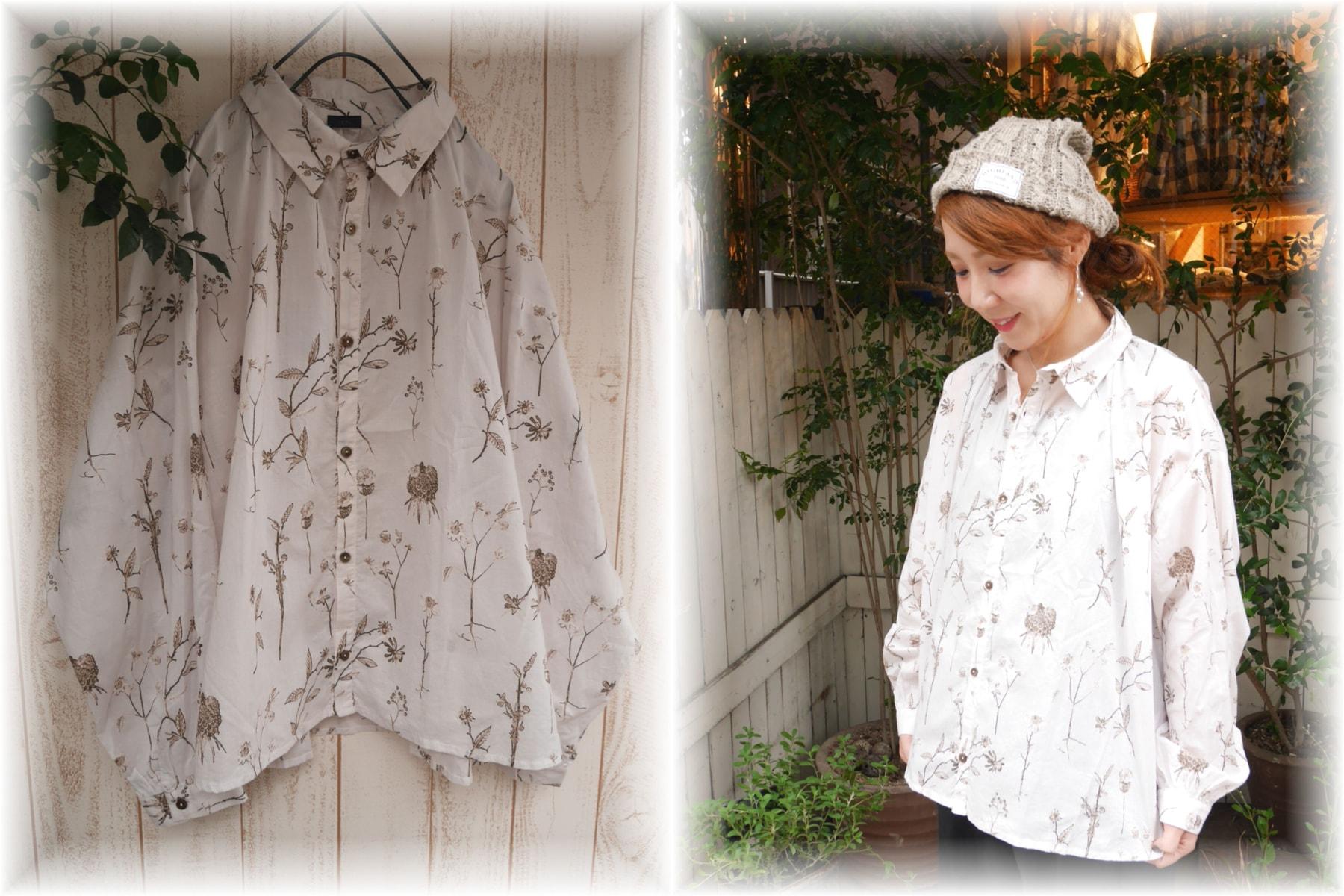 ichi</span></br>オリジナルボタニカル柄シャツ