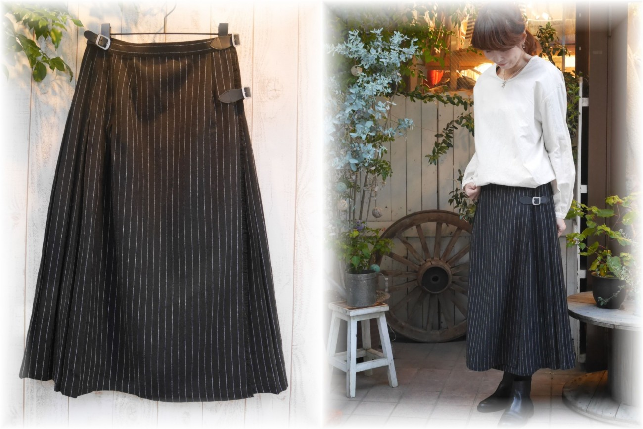 ichi</span></br>ストライプラップスカート
