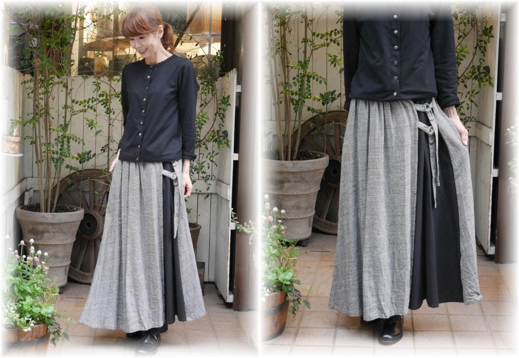 ina</span></br>綿麻ウールラップ風スカート