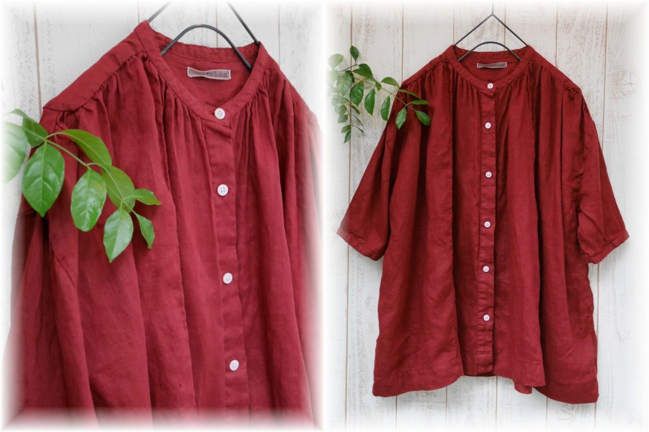 nachukara</span></br>リネンスタンドカラーシャツ