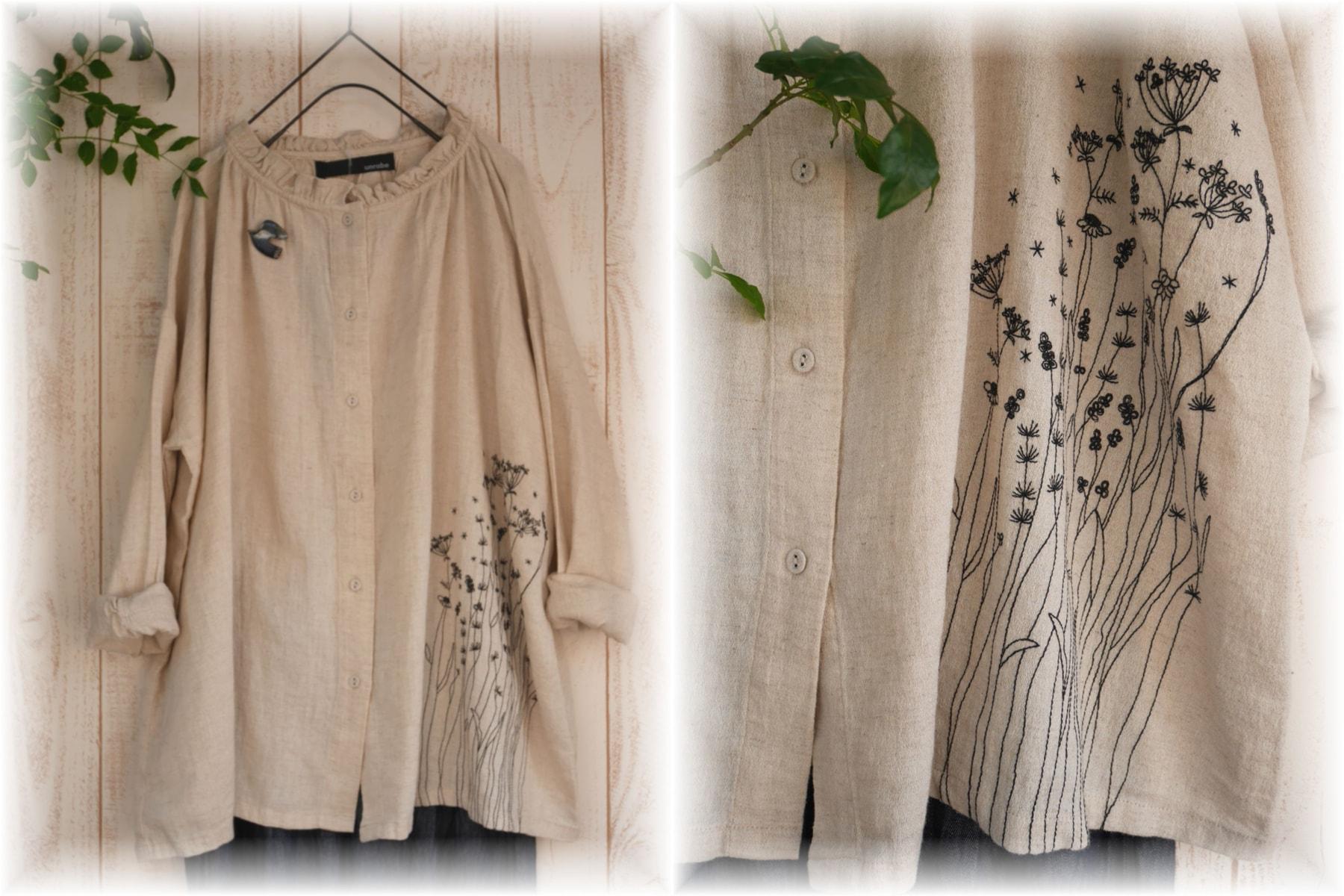 リネンコットンボタニカル刺繍ブラウス