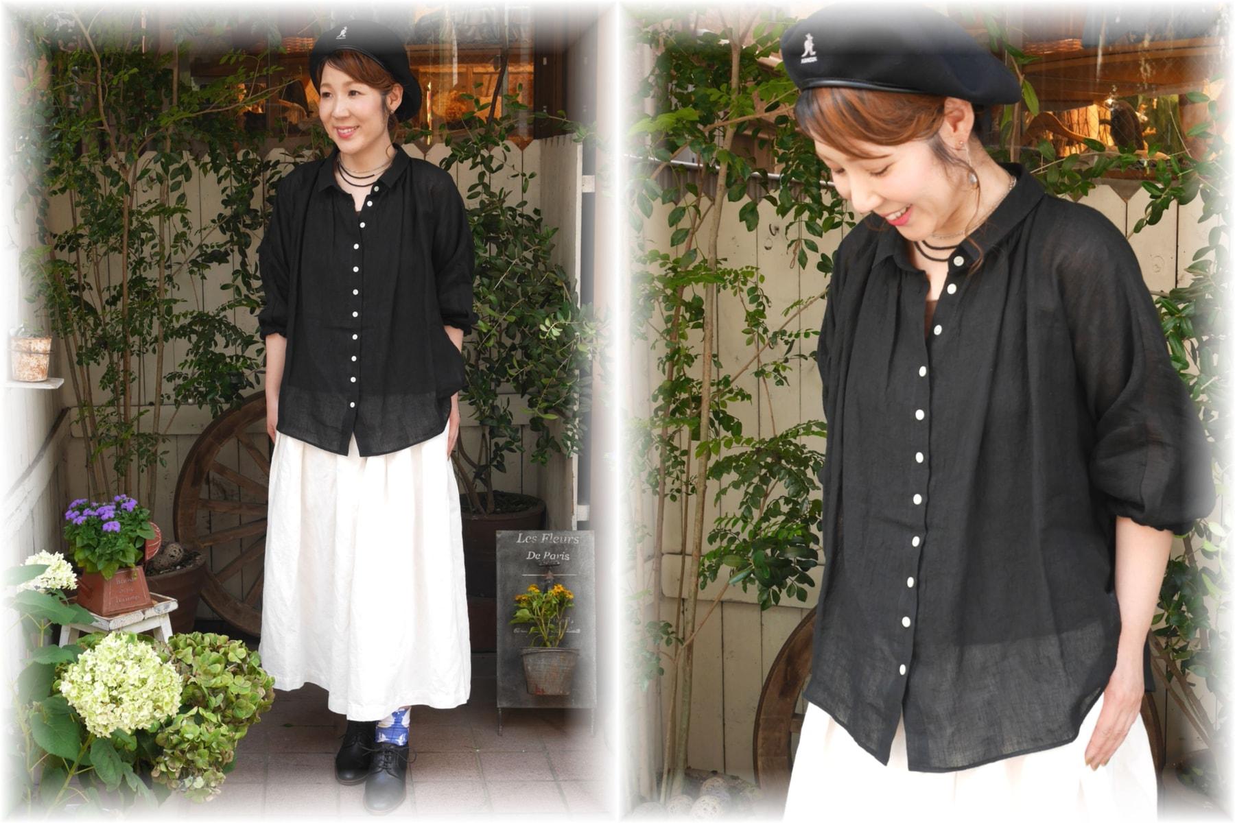 nachukara</span></br>リネンデザインスリーブシャツ<font color=#FF0000>SOLD OUT</font>