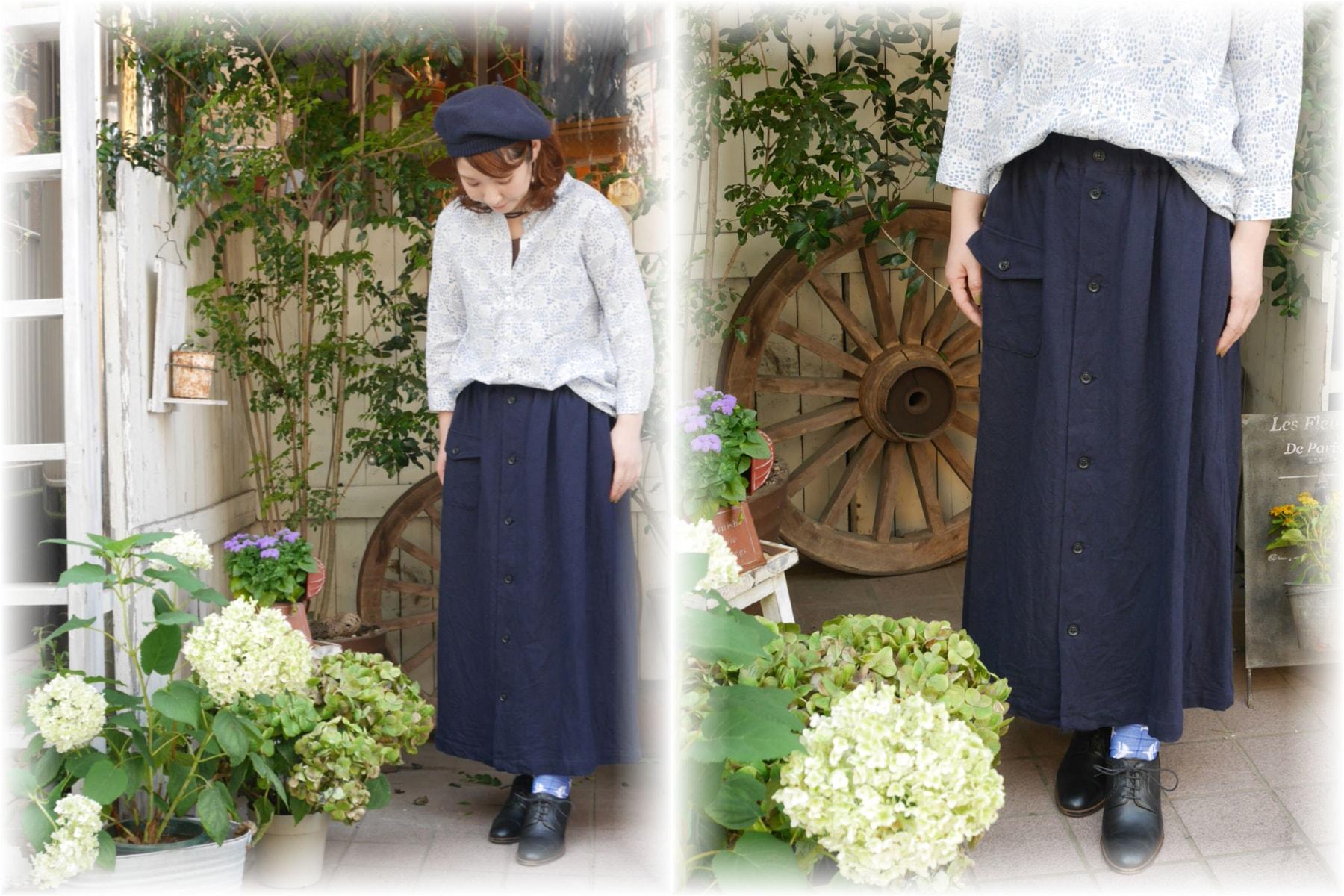 ichi</span></br>リネンコットン前ボタンスカート