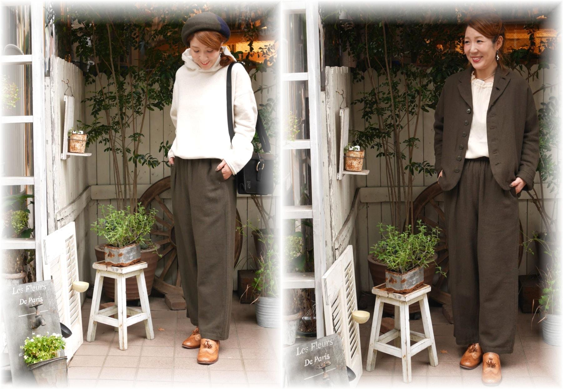 style+confort</span></br>コットンウールツイルワイドパンツ